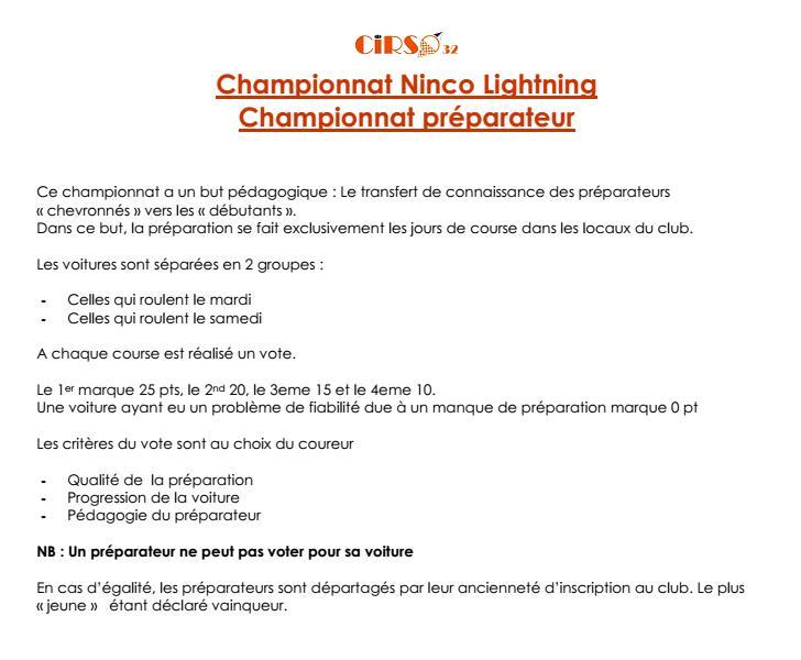 Règlement technique du championnat Ninco Lightning 2013 Nlr210