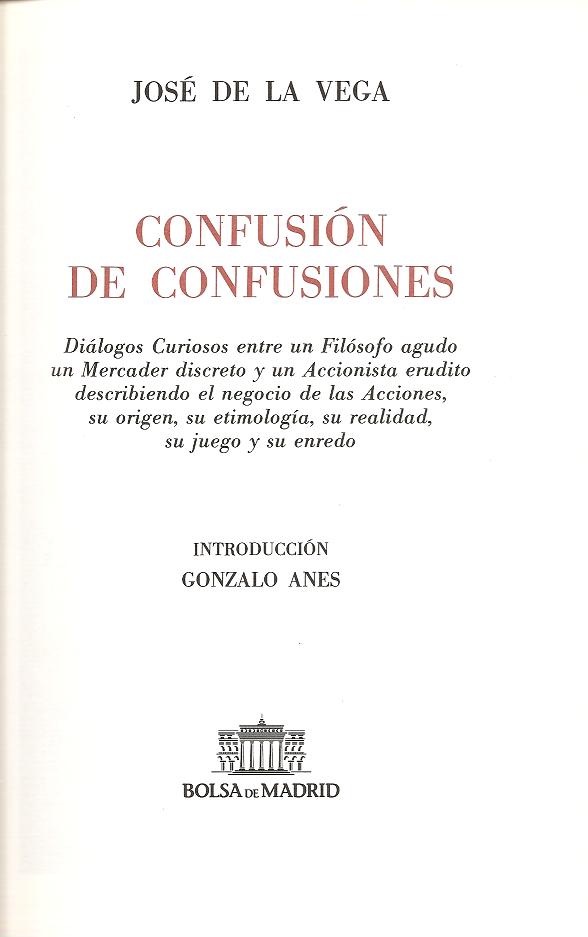 Confusión de confusiones, por José de la Vega Confus10