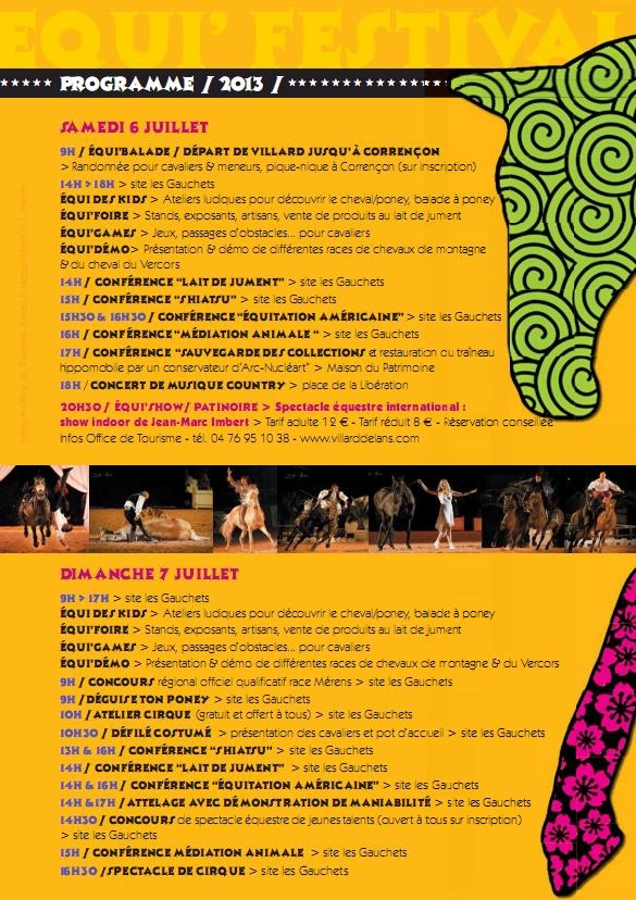 Equi'Festival à Villard-de-Lans 2ème édition – les 6 et 7 juillet 2013 - LE PROGRAMME!! Progra13