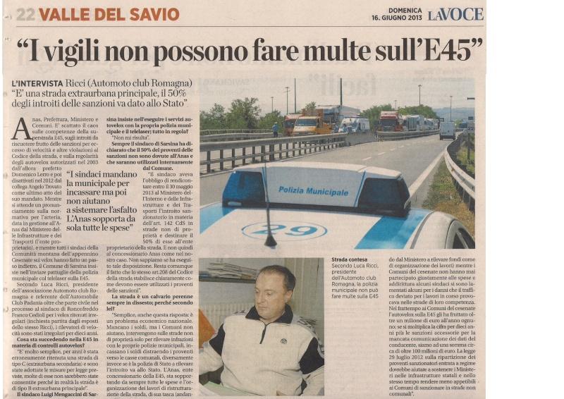 E45 intervista a Luca Ricci - La Voce di Romagna 16 giugno 2013 pagina valle alto savio  La_voc12