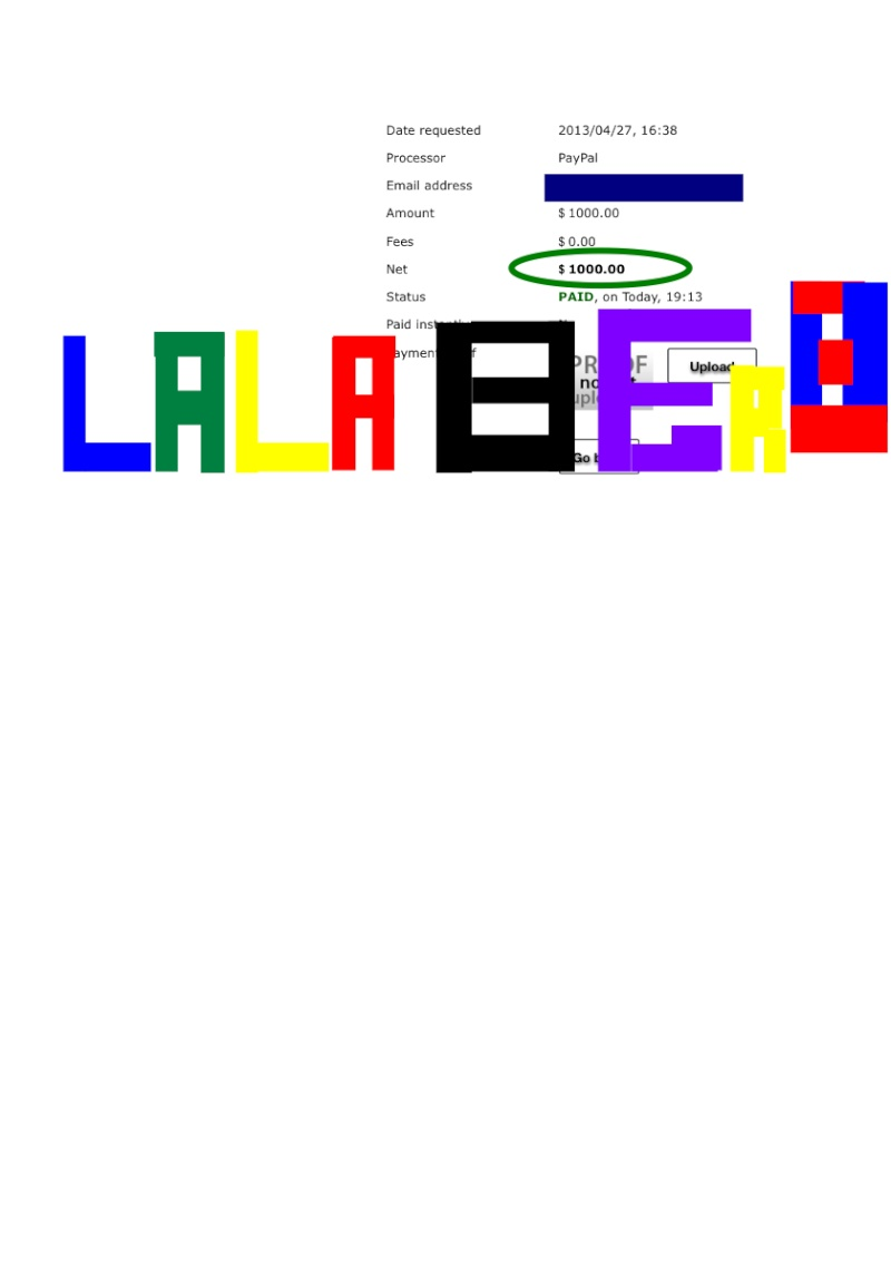 Payment Proof # 13 $ 1000.00 Lala-110