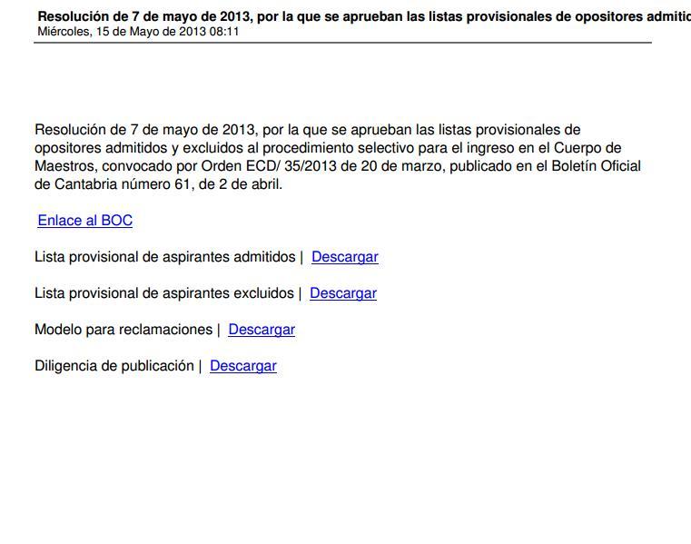 Cantabria. Listas provisionales Maestros 2013 Easyca13