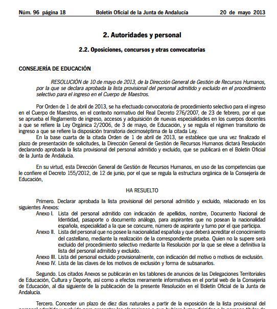 Andalucía. Listas provisiionales admitidos y excluidos Maestros 2013 Easyca14