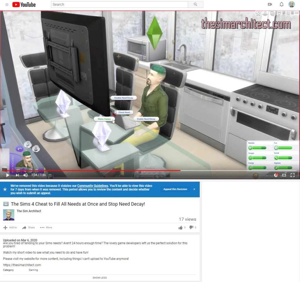 YouTube Gave me a Community Guideline Strike for a 1 Minute BASIC Sims 4 Tutorial! Screen13