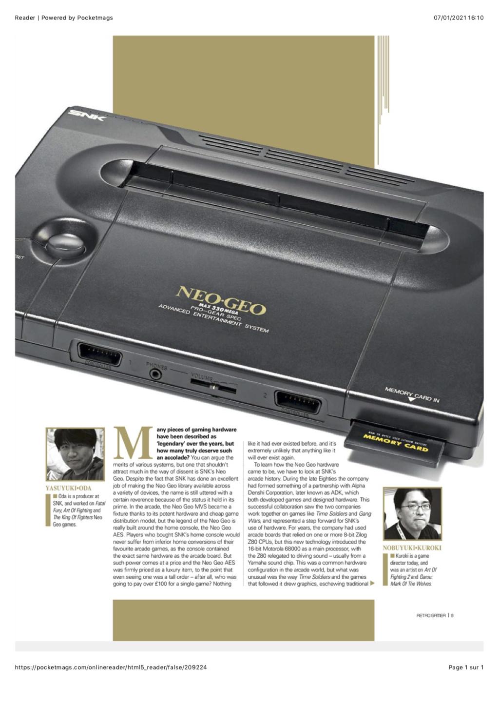 Dossier NEO GEO dans RETRO GAMER #215 0210