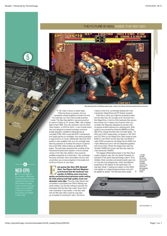Dossier NEO GEO dans RETRO GAMER #215 0410