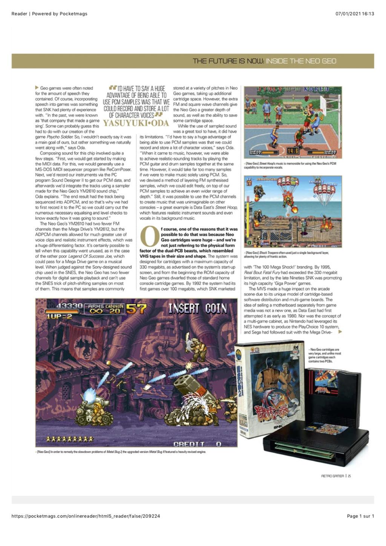 Dossier NEO GEO dans RETRO GAMER #215 0810