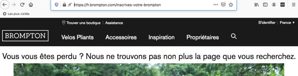 Enregistrer son vélo : panne du site brompton.com Captur12