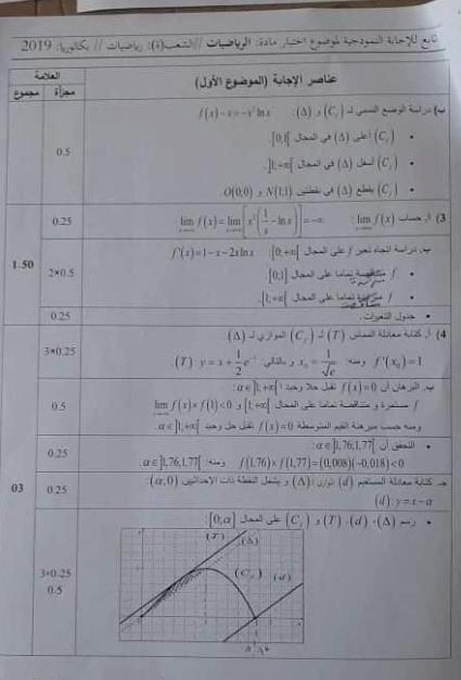 تصحيح نموذجي بكالوريا 2019 رياضيات شعبة رياضيات الموضوع 1 0410
