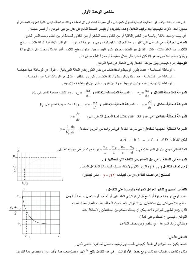 تطور كمية مادة المتفاعلات والنواتج خلال تحوّل كيميائي في محلول مائي -الوحدة 01 في الفيزياء - 3 ثانوي رياضي، تقني رياضي، علوم تجريبية BAC 3AS Resu1-10