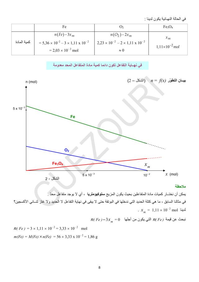 تطور كمية مادة المتفاعلات والنواتج خلال تحوّل كيميائي في محلول مائي -الوحدة 01 في الفيزياء - 3 ثانوي رياضي، تقني رياضي، علوم تجريبية BAC 3AS U1a-810