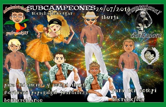 TORNEEO DOMINO CAMPEONES FOIX555 Y ORQUIDEABLANCA3 SUBCAMPEONES MERCHEFLORESGAR Y 1BURJA FINALISTAS JOAQUINMB7 Y LATINO44   29/07/2018 95c70c11