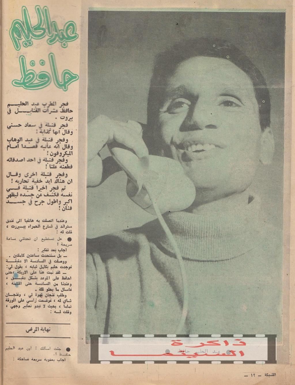 حافظ - حوار صحفي : عبدالحليم حافظ يفجر القنابل في بيروت 1966 م 1310
