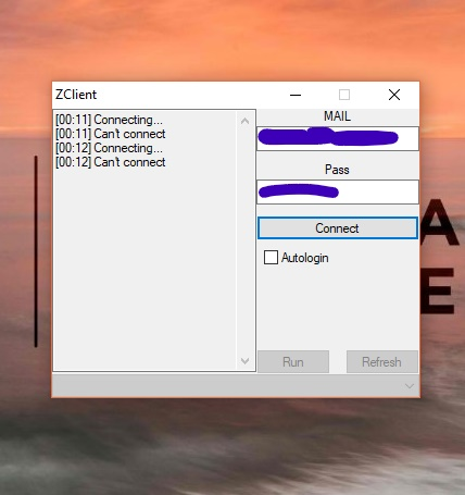 "Zclient ""can't connect""  Screen10"