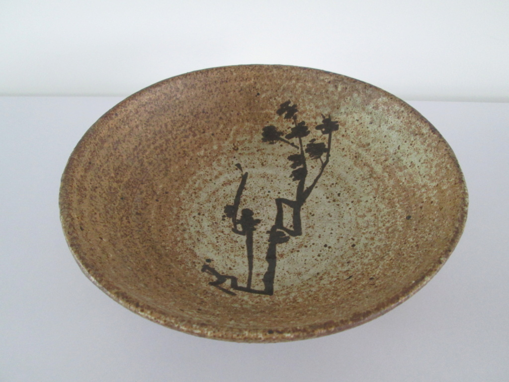 AFRICAN TREE STYLE PATTERN BROWN POTTERY BOWL SIGNED MONOGRAM PL DL LP LD Img_1817