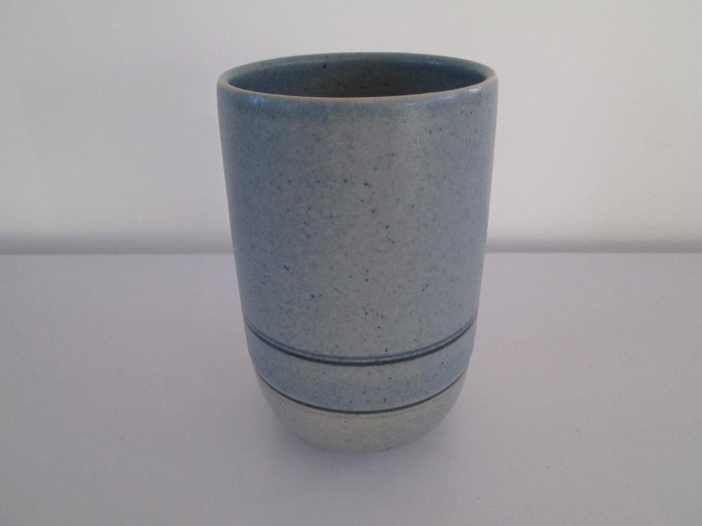 CYLINDRICAL STUDIO POTTERY VASE BLUE STRIPE LD Mark - Louise Darby Img_5811
