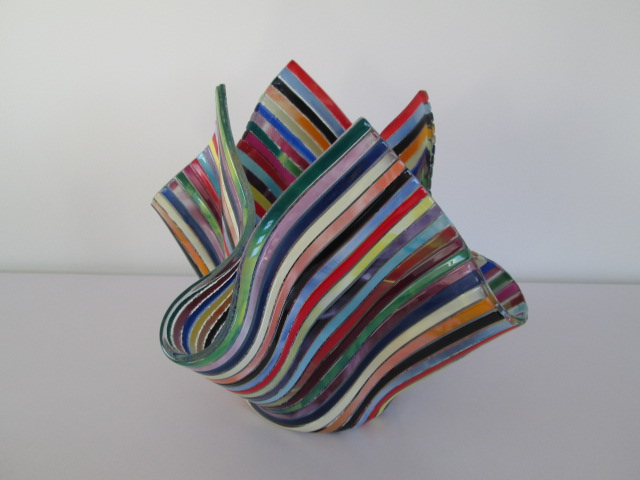Striped Handkerchief Glass Vase Signed Merino Molino? Please help ID Img_7713