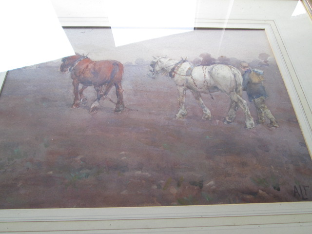 Antique Painting signed A L F Shire Horse Farming Picture Img_8310
