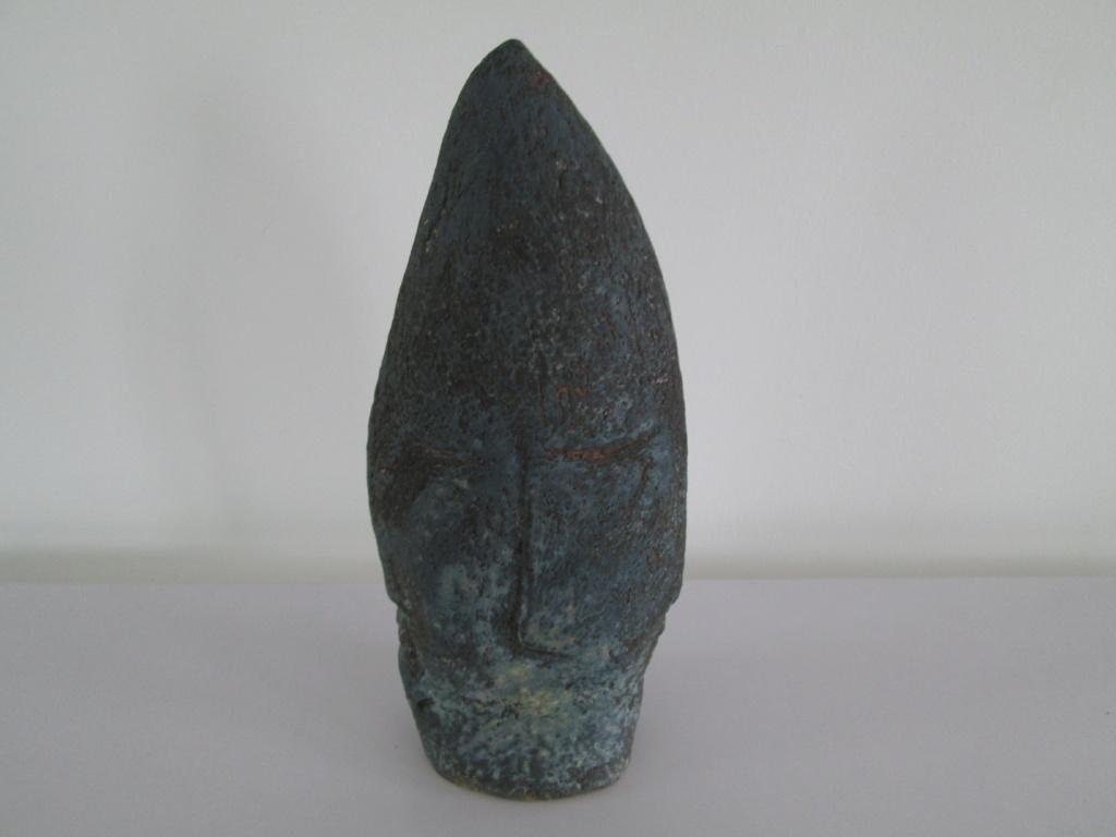 Unusual 4 face studio pottery mask sculpture MA monogram Img_8511