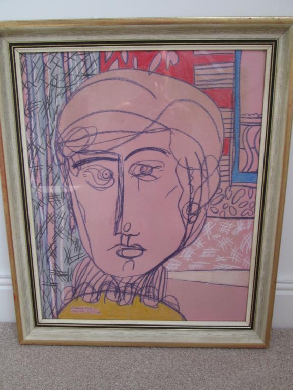 ABSTRACT MODERN ART PASTEL CRAYON SIGNED CAROLINE EADE MEIKAL Img_9716