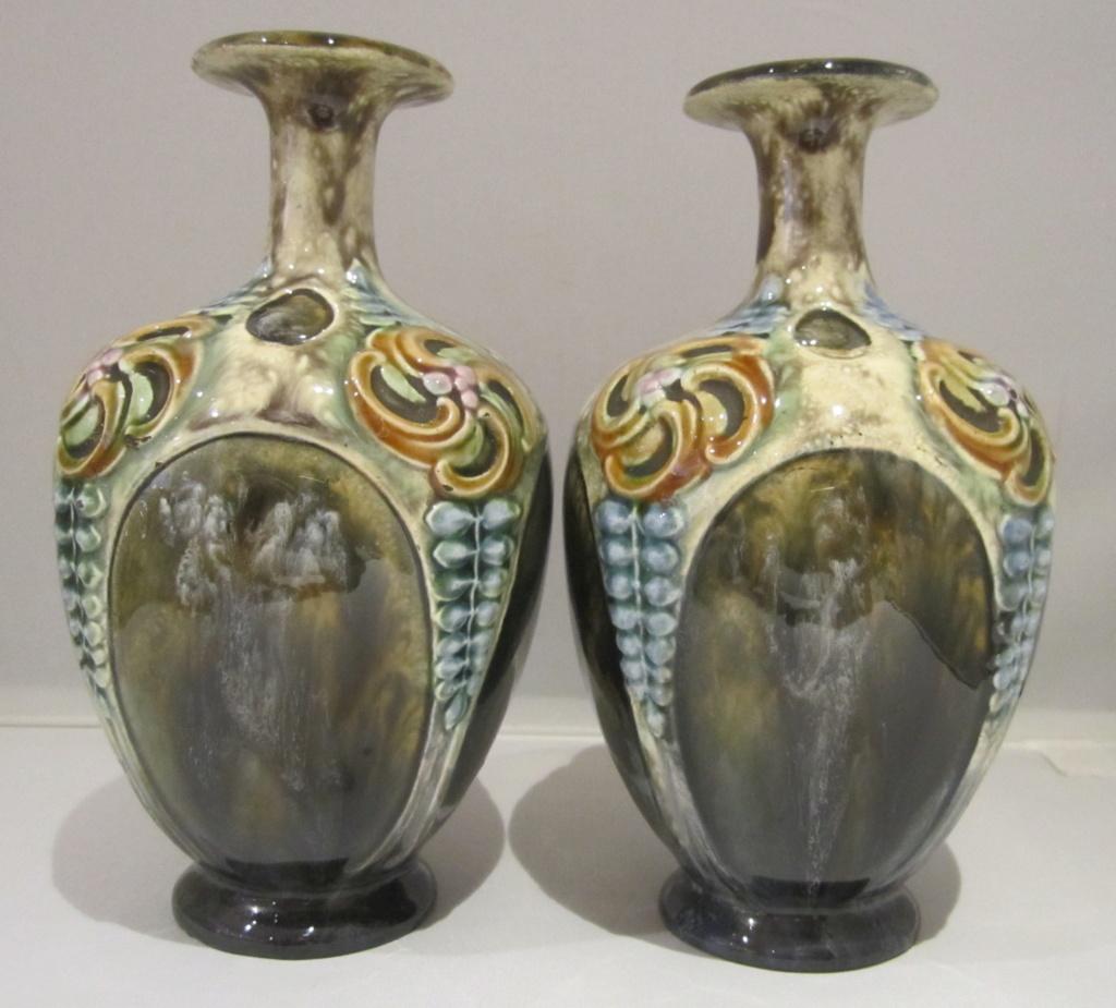 Doulton Lambeth style Art Nouveau vases Img_6815