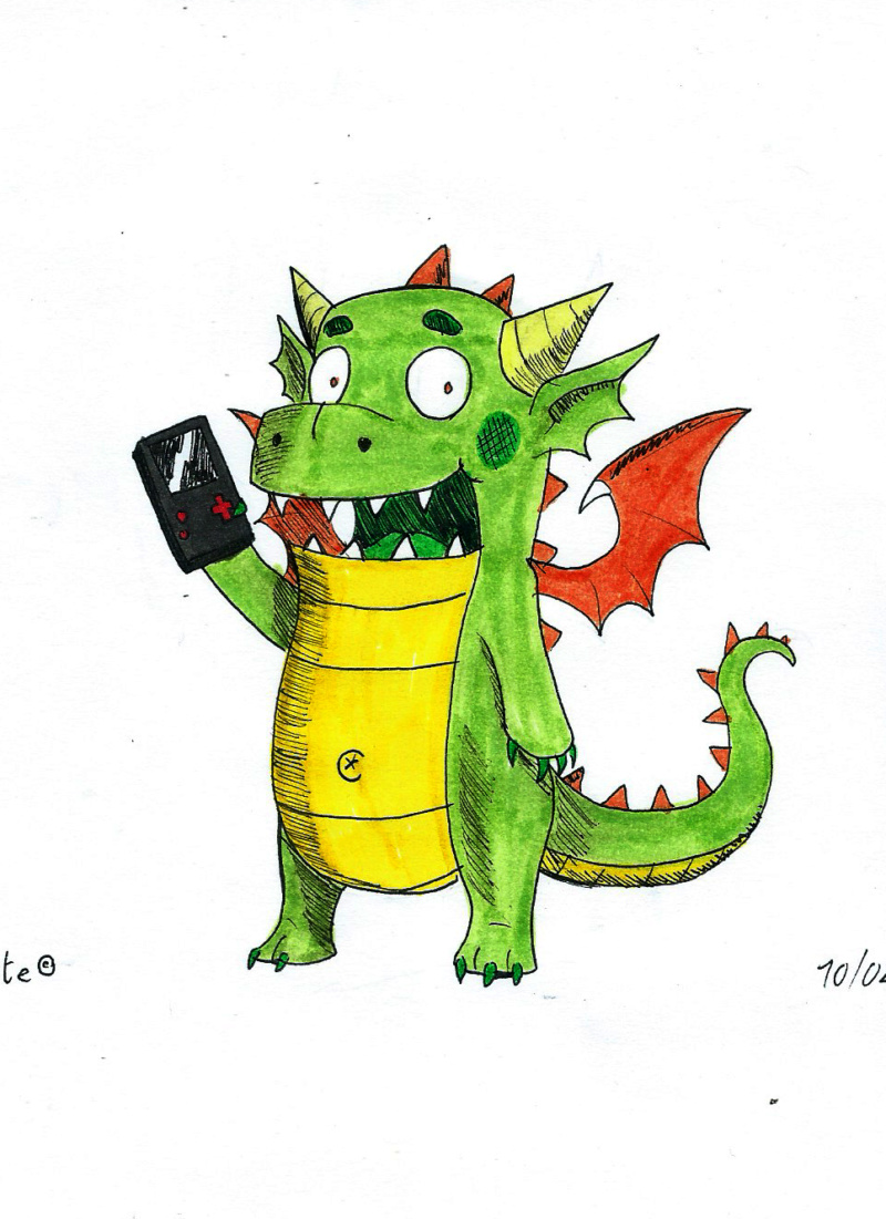 [Terminé] Petit dragon et sa Gameboy Dragon11
