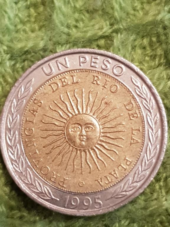 Un peso 1995 Argentina. Error provingias. Un regalo de un amigo. 20191153