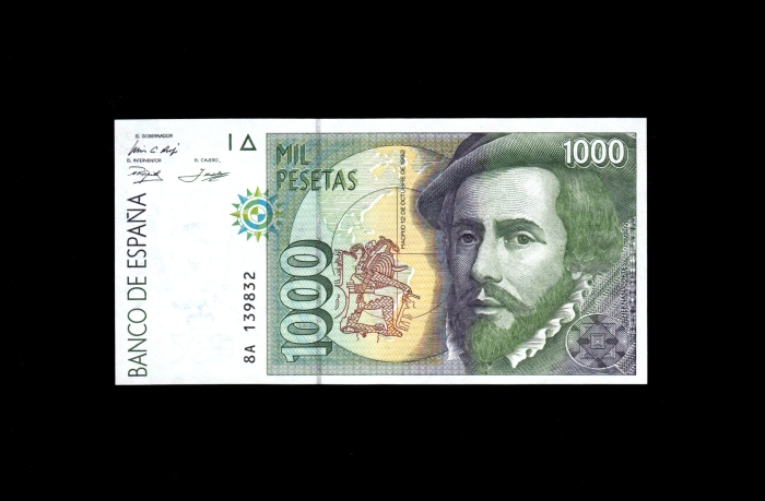 """1000 pesetas 1992 serie 8A, última serie """"experimental"""" en pesetas Escane10"""