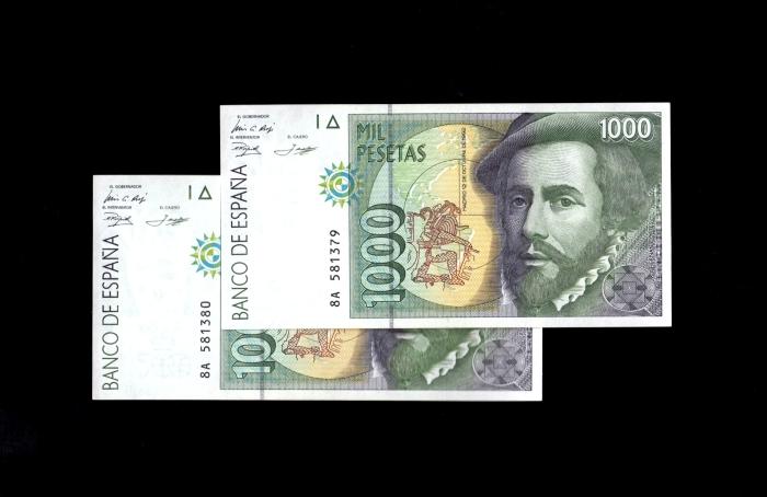 """1000 pesetas 1992 serie 8A, última serie """"experimental"""" en pesetas Escane11"""