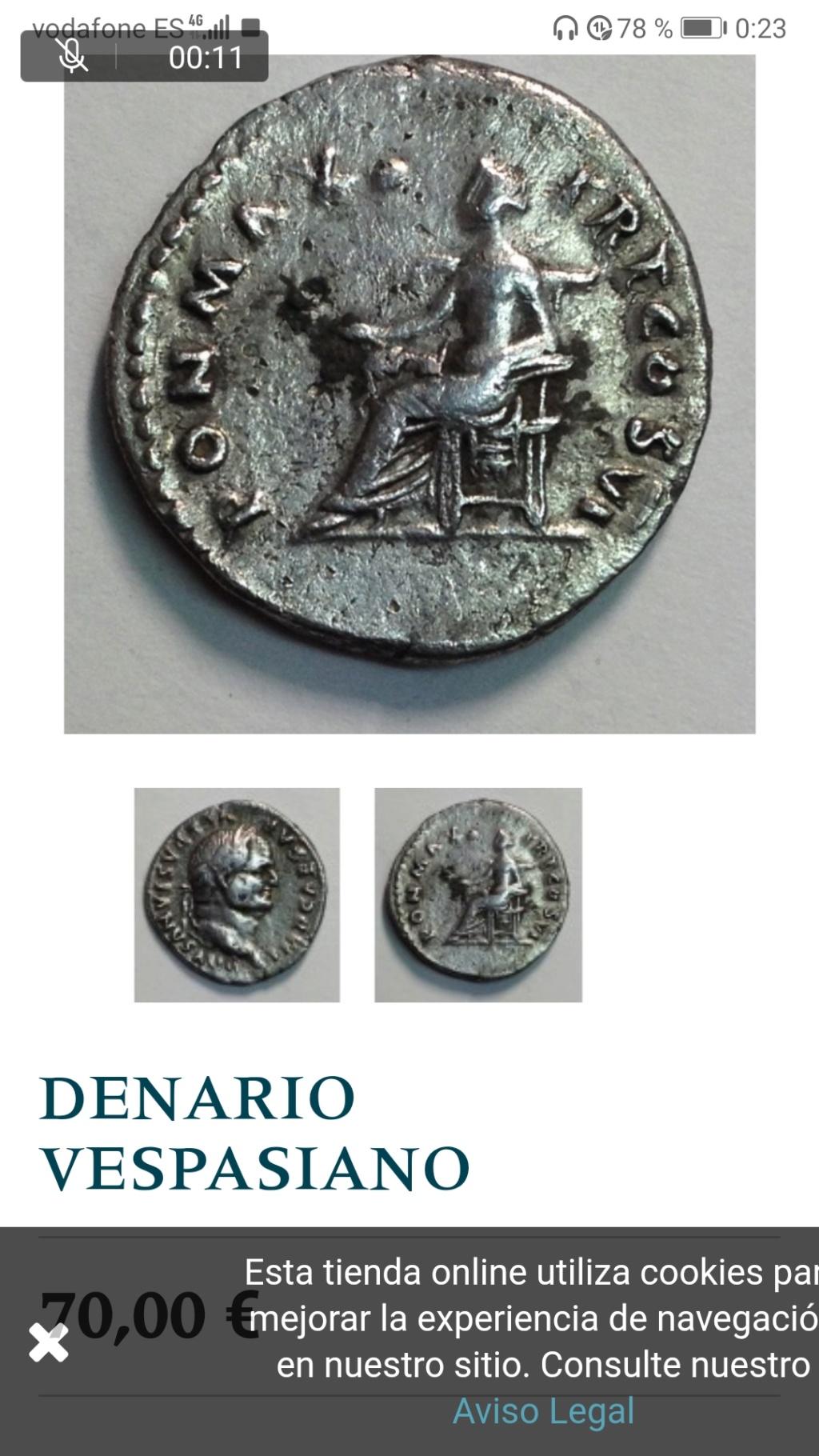 Denario de Vespasiano. PON MAX TR P COS VI. Paz/Livia  sedente a la izq. Roma. Screen10
