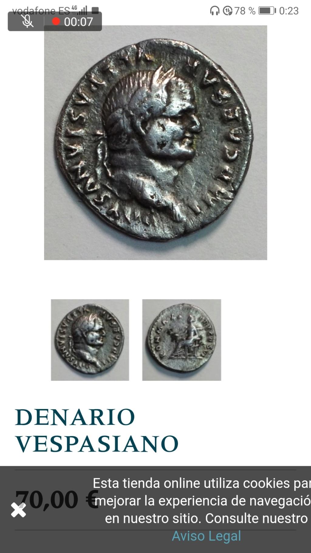 Denario de Vespasiano. PON MAX TR P COS VI. Paz/Livia  sedente a la izq. Roma. Screen12