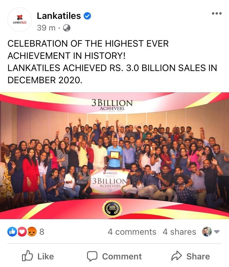 TILE (Lanka Tiles PLC) just announced 3b revenue for DEC20! Whatsa10
