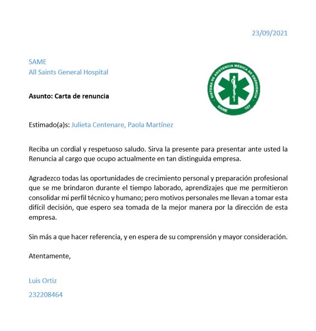 [Carta de renuncia voluntaria SAME] Luis Ortiz 2110