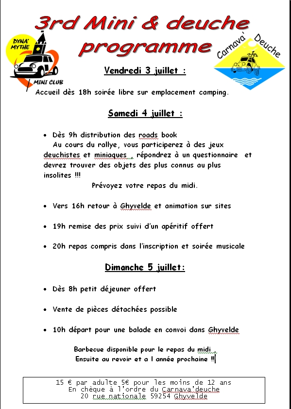 3rd Mini & Deuche Rally Days 4 & 5 Juillet Progra10