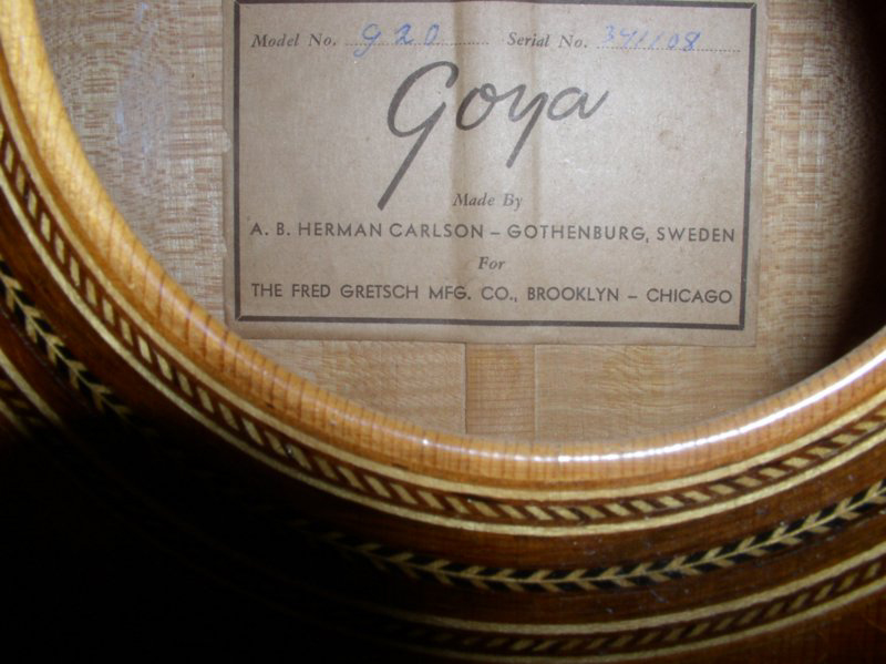 GOYA  G.20   G.10  G.15  (for Gretsch)  1956 1956_g14