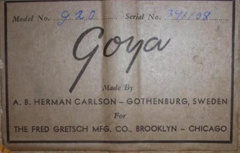 GOYA  G.20   G.10  G.15  (for Gretsch)  1956 198110
