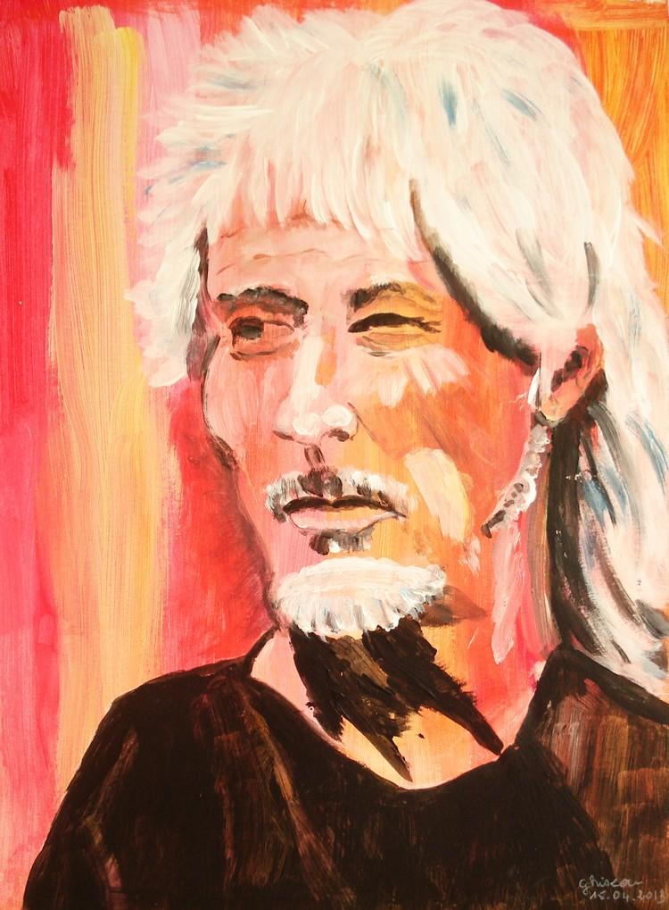 Portrait acrylique  Hugues Aufray Dsc00710