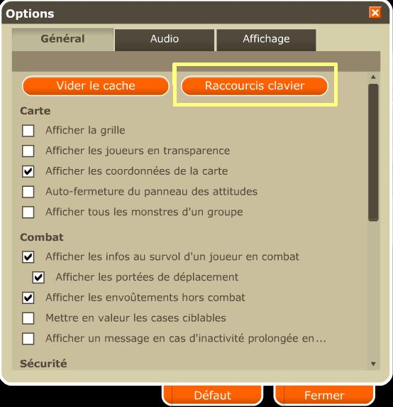 Raccourcis de clavier 21010