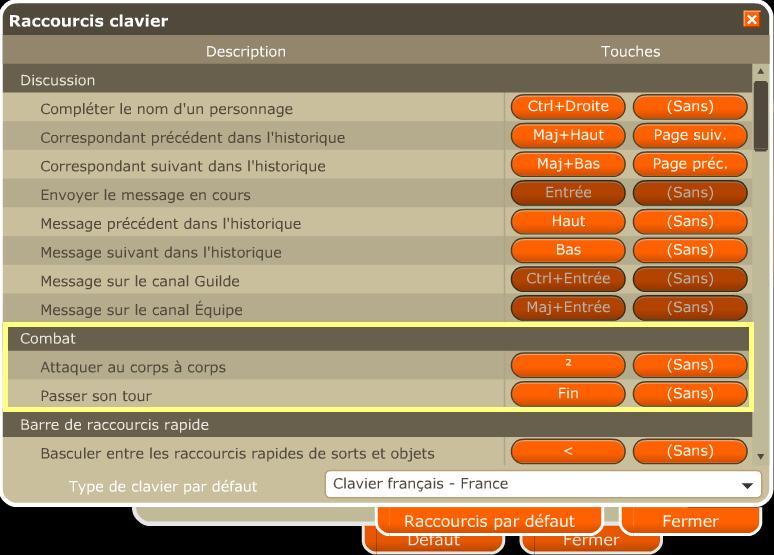 Raccourcis de clavier 31010