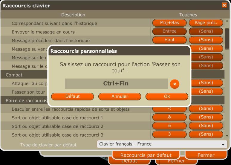 Raccourcis de clavier Passet10