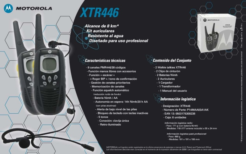 Walkie Talkie Motorola XTR446 Xtr46611