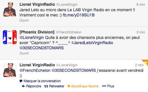 Jared Leto dans Le LAB Virgin Radio Captur16