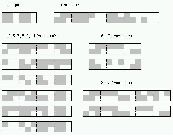 Cubes communs aux 12 énigmes Tetris12