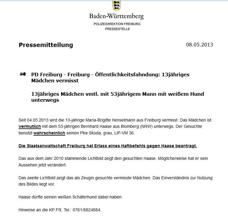Polizei Freiburg fahndet nach 13-jähriges Mädchen  Vermis11