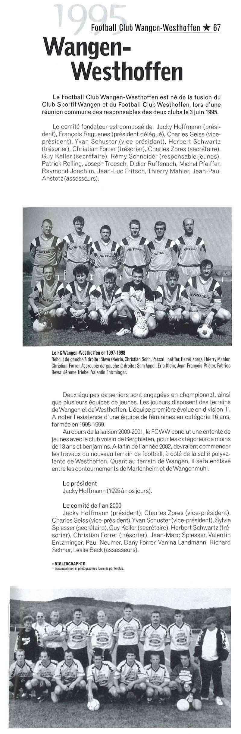 L e FC Wangen Westhoffen 199511