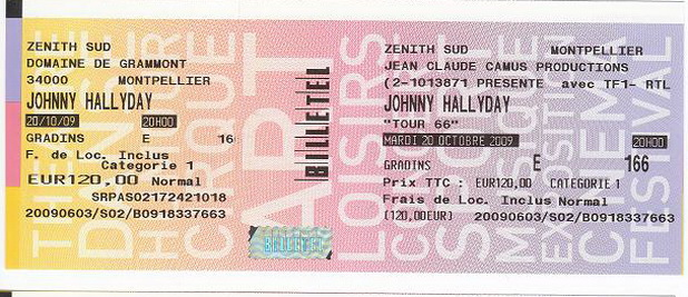 Quelques photos de billets de concert de Johnny 13888510