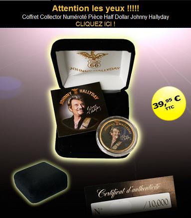 coffret collector numéroté Pièce Half Dollar Johnny Hallyday 2009-268