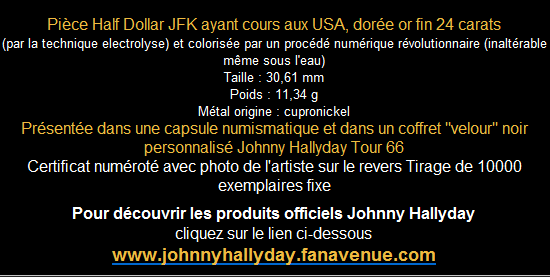 coffret collector numéroté Pièce Half Dollar Johnny Hallyday 2009-269