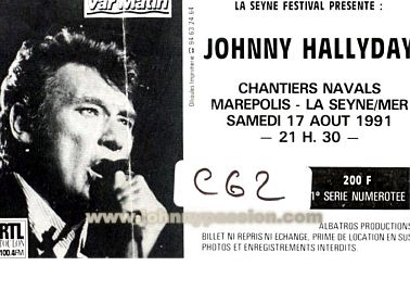 Quelques photos de billets de concert de Johnny Bill1410