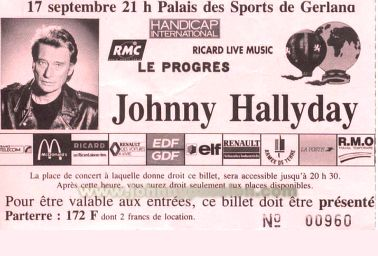 Quelques photos de billets de concert de Johnny Bill1810